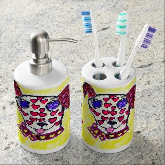 Dalmatian valentine 2 bathroom set