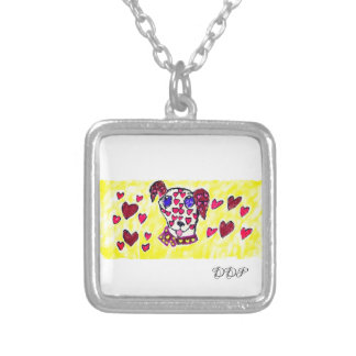 Dalmatian valentine 2 silver plated necklace