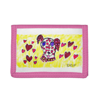 Dalmatian valentine 2 trifold wallet