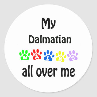 Dalmatian Walks Design Round Sticker