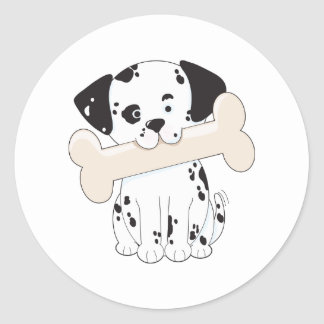 Dalmatian with Bone Classic Round Sticker