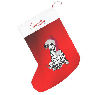 Dalmatian with Dogs Name at Top Small Christmas Stocking