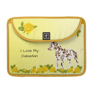 Dalmatian with Yellow Roses Sleeves For MacBooks
