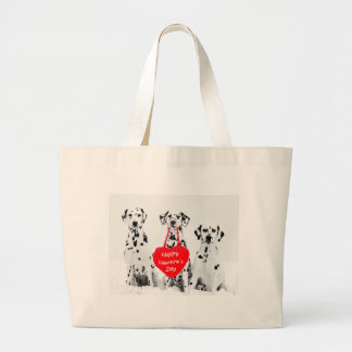 Dalmatians Dog Heart Happy Valentine's Day Large Tote Bag