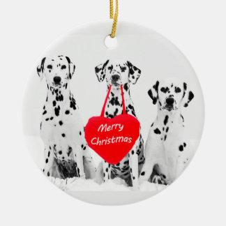 Dalmatians Wishing Merry Christmas Heart Ornament