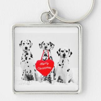 Dalmatians Wishing Merry Christmas keychain
