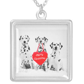 Dalmatians Wishing Merry Christmas silver necklash Silver Plated Necklace
