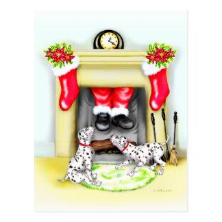 Dalmation Christmas Santa Drops In Postcard