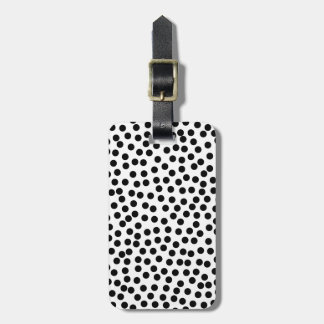 Dalmation Dots in Black and White Luggage Tag