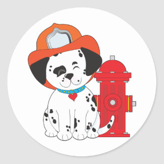 Dalmation Fire Dog Classic Round Sticker