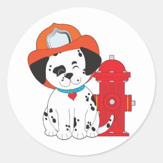 Dalmation Fire Dog Round Sticker