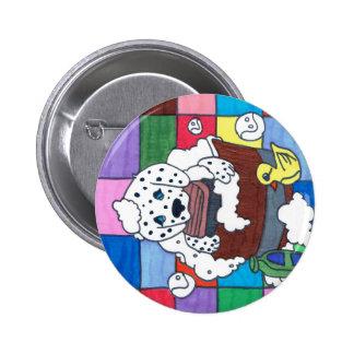 dalmation getting a bath 2 inch round button