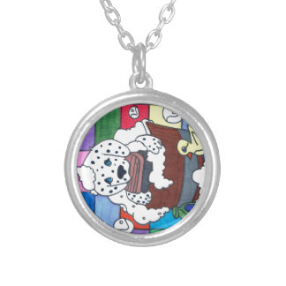 dalmation getting a bath silver plated necklace