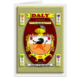 DALY FAMILY COAT OF ARMS CREST AND SHIELD CARD