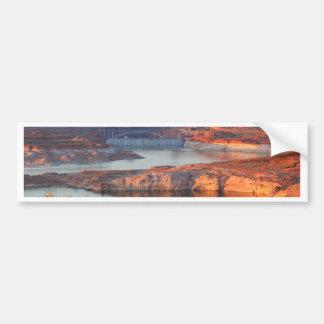 Dam and Bridge at sunrise Bumper Sticker