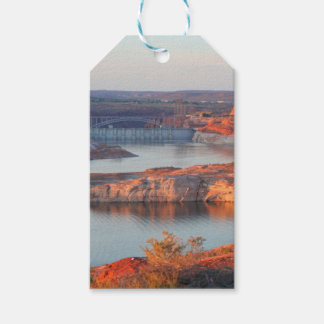 Dam and Bridge at sunrise Gift Tags