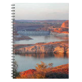 Dam and Bridge at sunrise Notebook