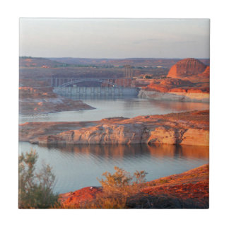 Dam and Bridge at sunrise Tile