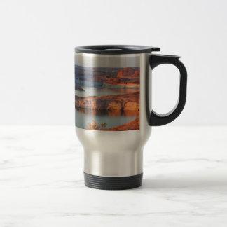 Dam and Bridge at sunrise Travel Mug