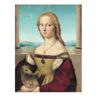 dama col liocorno by Raffaello Sanzio da Urbino Postcard