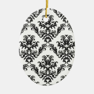 Damascus, black and target. Damask pattern Ceramic Oval Ornament