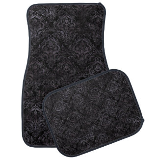 DAMASK1 BLACK MARBLE & BLACK WATERCOLOR CAR MAT