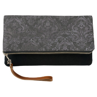 DAMASK1 BLACK MARBLE & BLACK WATERCOLOR CLUTCH