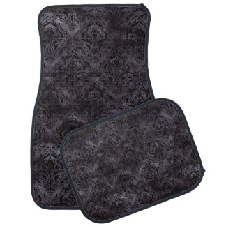 DAMASK1 BLACK MARBLE & BLACK WATERCOLOR (R) CAR MAT