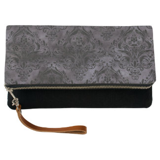 DAMASK1 BLACK MARBLE & BLACK WATERCOLOR (R) CLUTCH