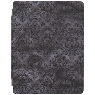 DAMASK1 BLACK MARBLE & BLACK WATERCOLOR (R) iPad COVER