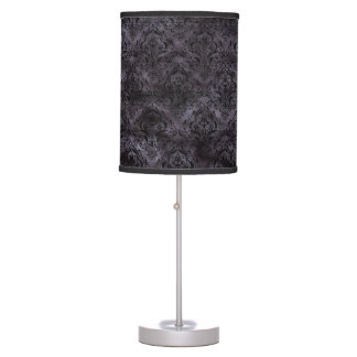 DAMASK1 BLACK MARBLE & BLACK WATERCOLOR (R) TABLE LAMP