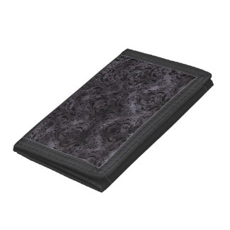 DAMASK1 BLACK MARBLE & BLACK WATERCOLOR (R) TRIFOLD WALLETS