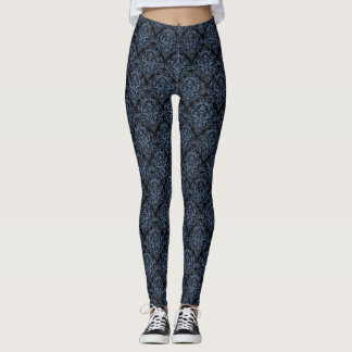 DAMASK1 BLACK MARBLE & BLUE DENIM LEGGINGS