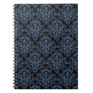 DAMASK1 BLACK MARBLE & BLUE DENIM NOTEBOOK