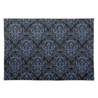 DAMASK1 BLACK MARBLE & BLUE DENIM PLACEMAT