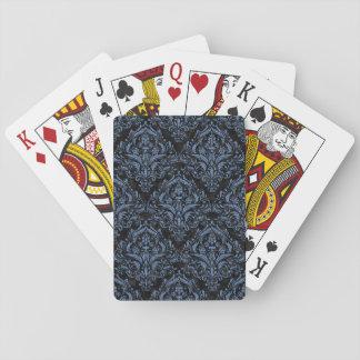 DAMASK1 BLACK MARBLE & BLUE DENIM PLAYING CARDS