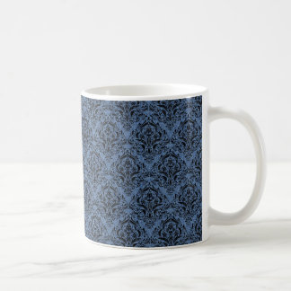 DAMASK1 BLACK MARBLE & BLUE DENIM (R) COFFEE MUG