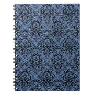 DAMASK1 BLACK MARBLE & BLUE DENIM (R) NOTEBOOKS