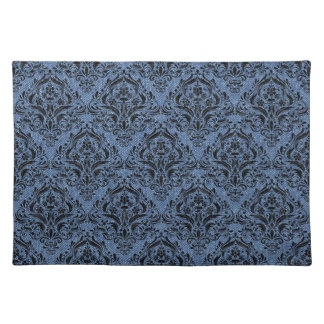 DAMASK1 BLACK MARBLE & BLUE DENIM (R) PLACEMAT