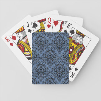 DAMASK1 BLACK MARBLE & BLUE DENIM (R) PLAYING CARDS