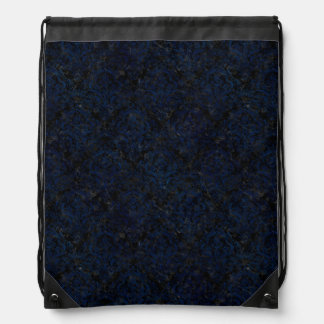 DAMASK1 BLACK MARBLE & BLUE GRUNGE DRAWSTRING BAG