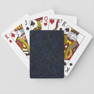 DAMASK1 BLACK MARBLE & BLUE GRUNGE PLAYING CARDS