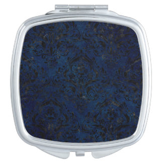 DAMASK1 BLACK MARBLE & BLUE GRUNGE (R) COMPACT MIRRORS