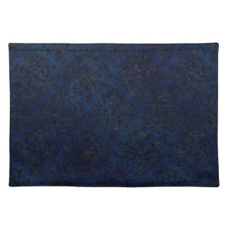 DAMASK1 BLACK MARBLE & BLUE GRUNGE (R) PLACEMAT