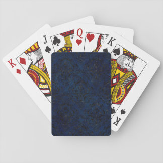 DAMASK1 BLACK MARBLE & BLUE GRUNGE (R) PLAYING CARDS