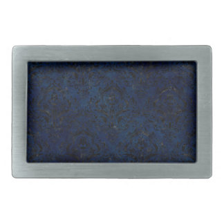DAMASK1 BLACK MARBLE & BLUE GRUNGE (R) RECTANGULAR BELT BUCKLE