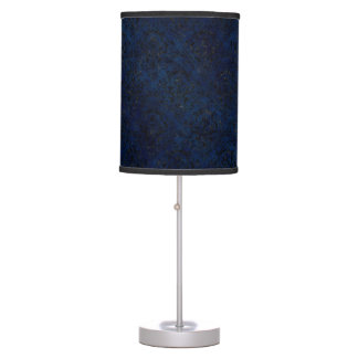 DAMASK1 BLACK MARBLE & BLUE GRUNGE (R) TABLE LAMP