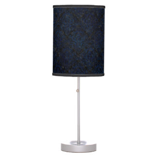 DAMASK1 BLACK MARBLE & BLUE GRUNGE TABLE LAMP
