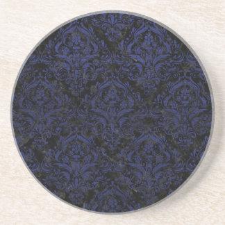 DAMASK1 BLACK MARBLE & BLUE LEATHER COASTER