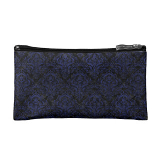 DAMASK1 BLACK MARBLE & BLUE LEATHER COSMETIC BAG